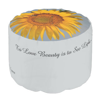 Sunflower and Quotes Round Pouf