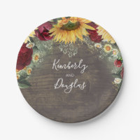 Sunflower and Red Rose Rustic Fall Wedding Paper Plate