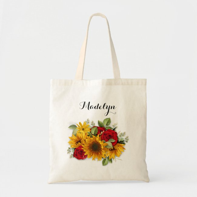 Sunflower and Roses Bridesmaid Bags