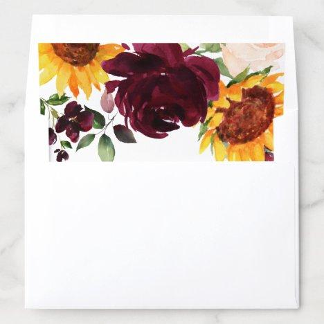 Sunflower and Roses Burgundy Red Fall Wedding Envelope Liner