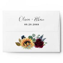 Sunflower and Roses Burgundy Red Navy Blue Wedding Envelope