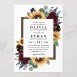 """Sunflower and Roses Burgundy Red Navy Blue Wedding Invitation<br><div class=""""desc"""">Design features elegant watercolor roses, peonies, wildflowers and sunflowers in various shades of burgundy red, navy blue and more over a wreath of eucalyptus greenery. Design also features a barn wood frame underneath the wreath. A unique font layout compliments the overall design. You can change the background color on the...</div>"""