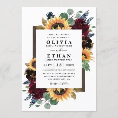 Sunflower and Roses Burgundy Red Navy Blue Wedding Invitation