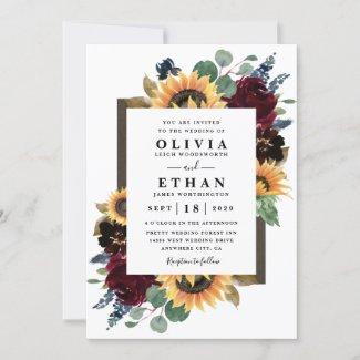 Burgundy Sunflower Wedding Invitations, Red Roses, Navy Blue