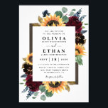 "Sunflower and Roses Burgundy Red Navy Blue Wedding Invitation<br><div class=""desc"">Design features elegant watercolor roses, peonies, wildflowers and sunflowers in various shades of burgundy red, navy blue and more over a wreath of eucalyptus greenery. Design also features a barn wood frame underneath the wreath. A unique font layout compliments the overall design. You can change the background color on the...</div>"