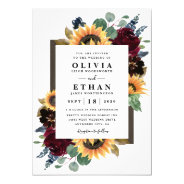 Sunflower And Roses Burgundy Red Navy Blue Wedding Invitation at Zazzle
