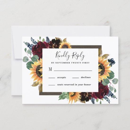 Sunflower and Roses Burgundy Red Navy Blue Wedding RSVP Card