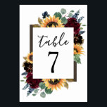 """Sunflower and Roses Burgundy Red Navy Blue Wedding Table Number<br><div class=""""desc"""">Design features elegant watercolor roses, peonies, wildflowers and sunflowers in various shades of burgundy red, navy blue and more over a wreath of eucalyptus greenery. Design also features a barn wood frame underneath the wreath. A unique font layout compliments the overall design. You can change the background color on the...</div>"""