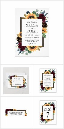Sunflower and Roses Burgundy Wedding Invitations