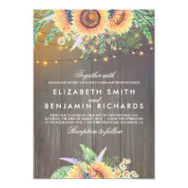 Sunflower and String Lights Rustic Wood Wedding Invitation