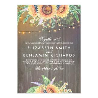 Sunflower and String Lights Rustic Wood Wedding Invitation