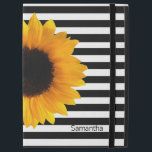 """Sunflower and Stripes iPad Pro Case<br><div class=""""desc"""">Pretty iPad Pro case done in a black and white striped pattern,  with a photograph of a large yellow sunflower bloom.  Personalize the black text to suit your needs.</div>"""