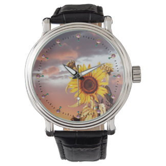 SUNFLOWER AND SUMMER SUNSET WITH PINK CLOUDS WRIST WATCH