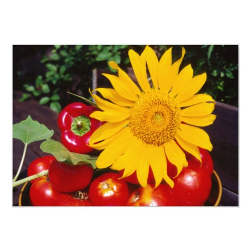 Sunflower and Vegetables - Tomatoes, Red Peppers Personalized Announcement