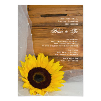 Sunflower and Veil Country Bridal Shower 5x7 Paper Invitation Card