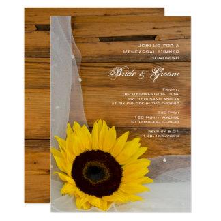 Sunflower and Veil Country Rehearsal Dinner Invite