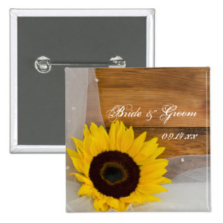 Sunflower and Veil Country Wedding Button