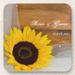 Sunflower and Veil Country Wedding Cork Coasters