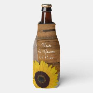 Sunflower and Veil Country Wedding Favor Bottle Cooler