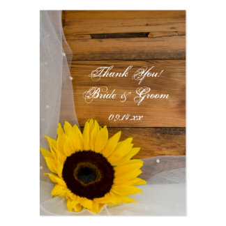 Sunflower and Veil Country Wedding Favor Tags Large Business Card