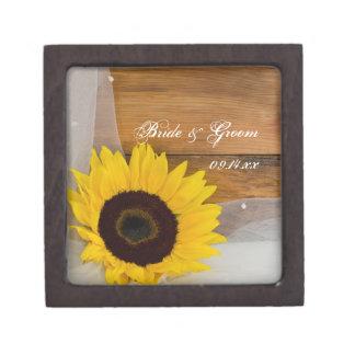 Sunflower and Veil Country Wedding Gift Box Premium Keepsake Box
