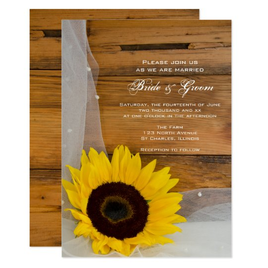 Sunflower and Veil Country Wedding Invitation