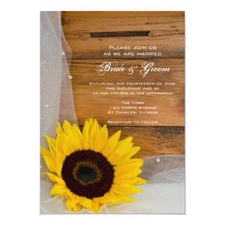 """Sunflower and Veil Country Wedding Invite 5"""" X 7"""" Invitation Card"""