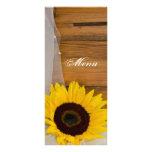 Sunflower and Veil Country Wedding Menu Custom Rack Cards