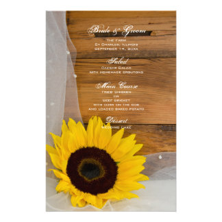Sunflower and Veil Country Wedding Menu Custom Stationery