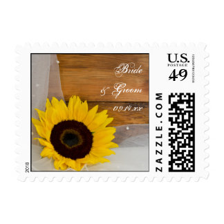 Sunflower and Veil Country Wedding Postage Stamp