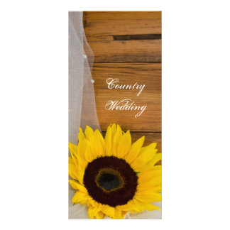 Sunflower and Veil Country Wedding Program Personalized Rack Card
