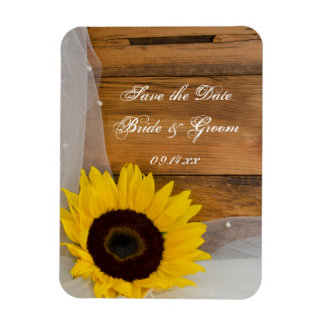 Sunflower and Veil Country Wedding Save the Date Magnet