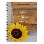Sunflower and Veil Country Wedding Spiral Notebook