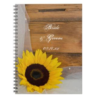 Sunflower and Veil Country Wedding Spiral Notebook