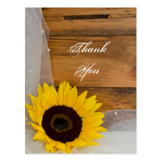Sunflower and Veil Country Wedding Thank You Postcards