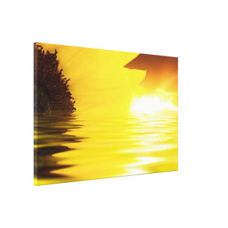 Sunflower and water close up with sunshine canvas print