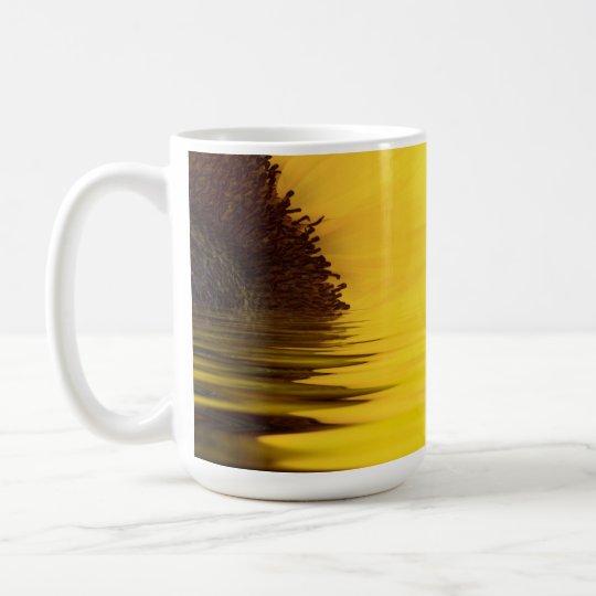 Sunflower and water close up with sunshine coffee mug