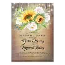Sunflower and White Rose Rustic Rehearsal Dinner Invitation