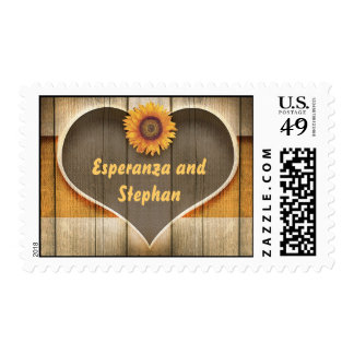 sunflower and wood heart postage stamps