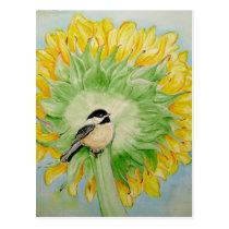 Sunflower andChickadee Postcard