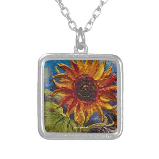 Sunflower Art Necklace