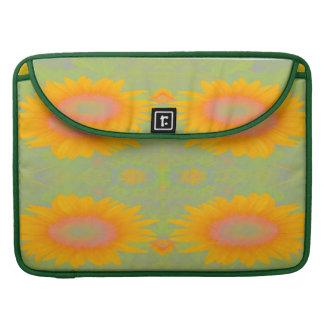 Sunflower Art on Green MacBook Pro Sleeves