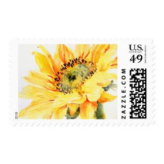 Sunflower art postage stamp