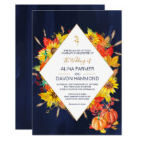 Sunflower Autumn Leaves Wedding Invitation