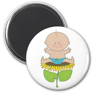 Sunflower Baby Boy 2 Inch Round Magnet