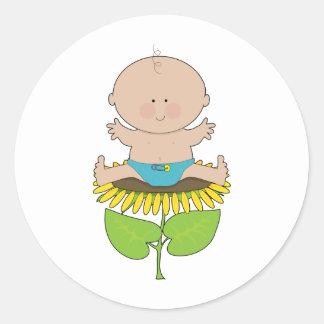 Sunflower Baby Boy Classic Round Sticker