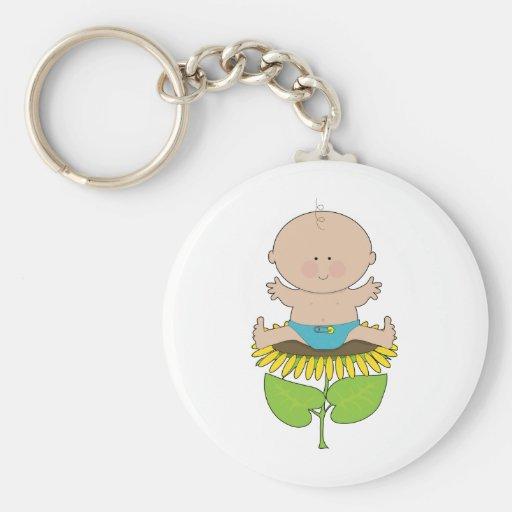 Sunflower Baby Boy Key Chain