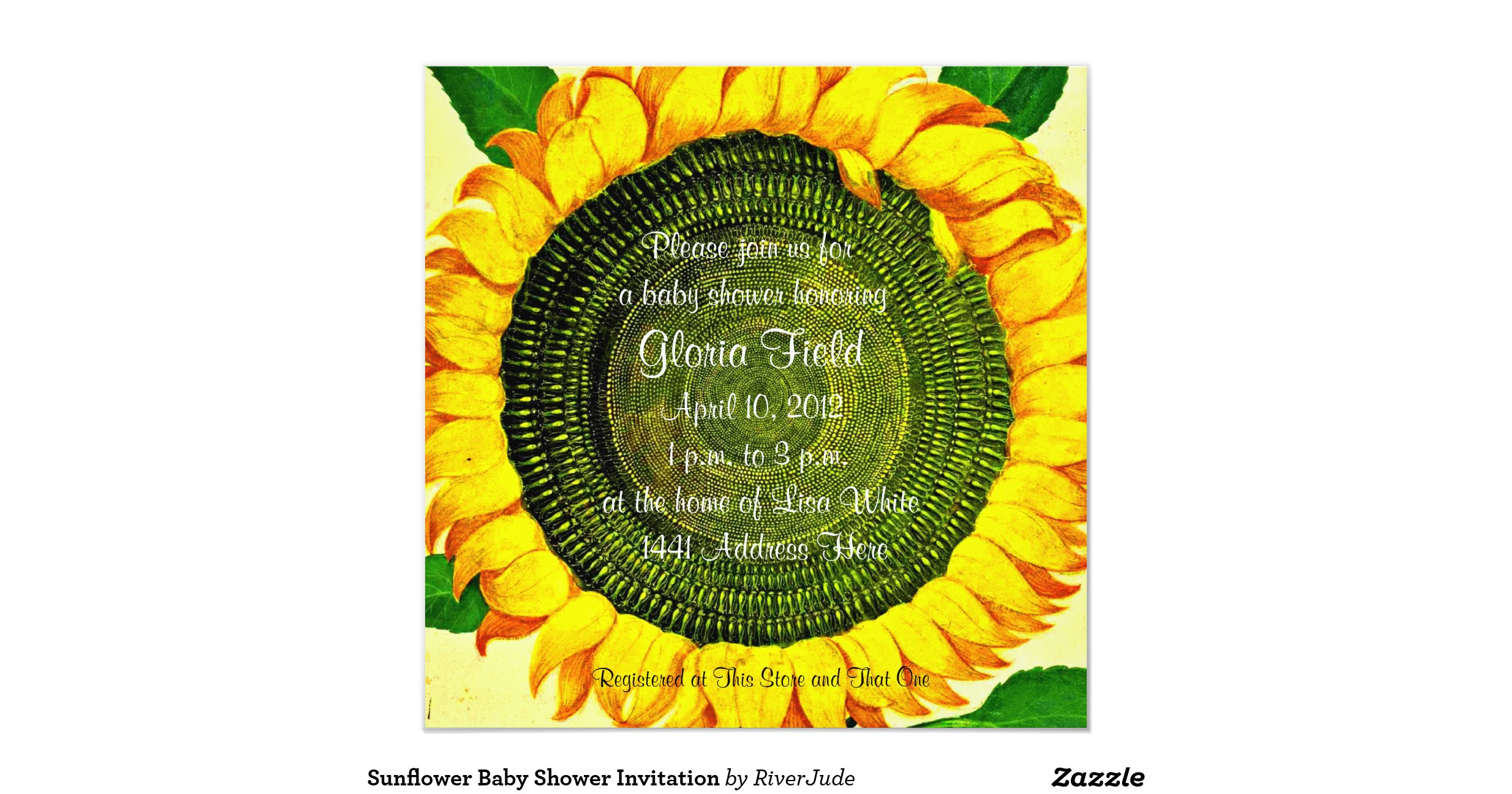 sunflower baby shower invitation r9ed87700252e4ac795c251372b9fa5da