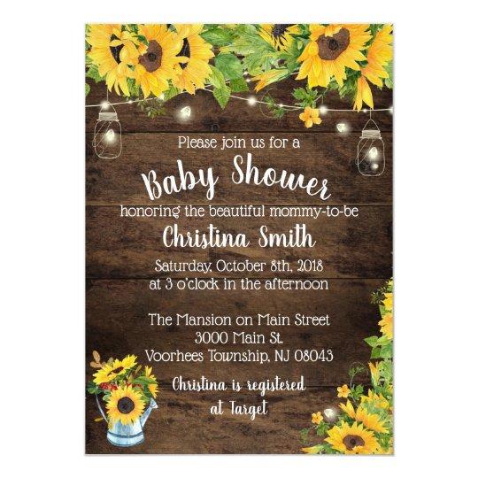 Sunflower baby shower invitation country rustic zazzle sunflower baby shower invitation country rustic filmwisefo