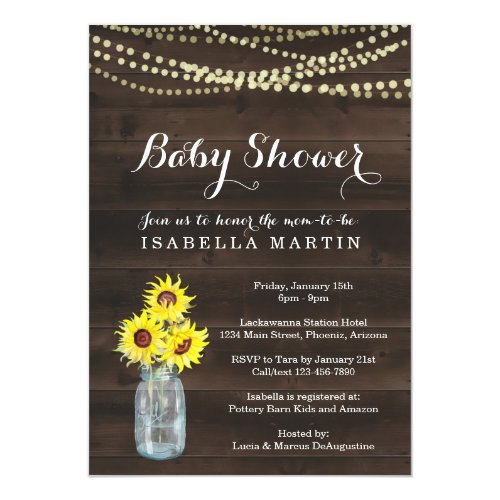 Sunflower Baby Shower Invitation - Gender Neutral